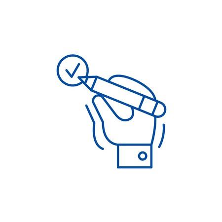 Mark done line concept icon. Mark done flat  vector website sign, outline symbol, illustration.