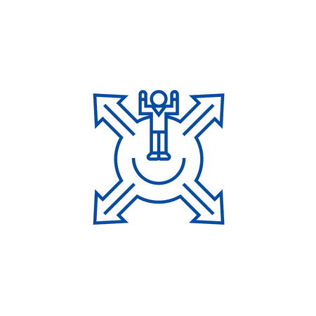 Market positioning,man with cross arrows line concept icon. Market positioning,man with cross arrows flat  vector website sign, outline symbol, illustration. Иллюстрация