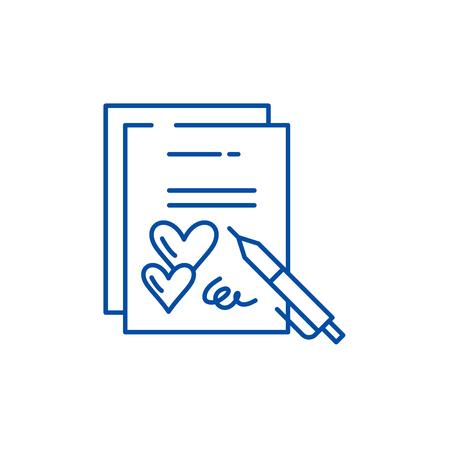 Icono de concepto de línea de contrato de matrimonio. Contrato de matrimonio plano vector signo de sitio web, símbolo de contorno, Ilustración.