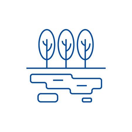 Marsh,lake line concept icon. Marsh,lake flat  vector website sign, outline symbol, illustration.