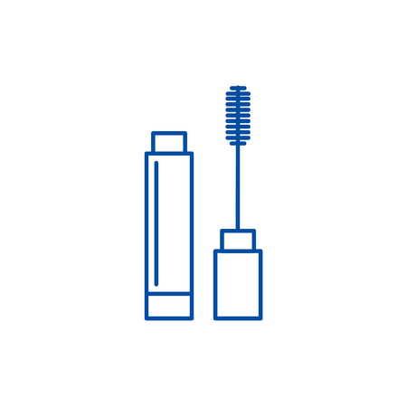 Mascara line concept icon. Mascara flat  vector website sign, outline symbol, illustration. Illustration
