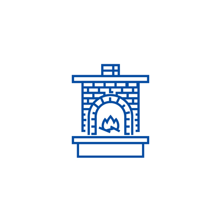 Masonry heater,fireplace with brick  line concept icon. Masonry heater,fireplace with brick  flat  vector website sign, outline symbol, illustration.