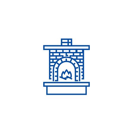 Masonry heater,fireplace with brick  line concept icon. Masonry heater,fireplace with brick  flat  vector website sign, outline symbol, illustration.