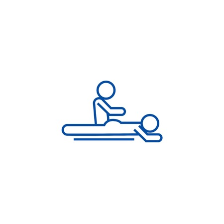 Massage spa therapy line concept icon. Massage spa therapy flat  vector website sign, outline symbol, illustration.