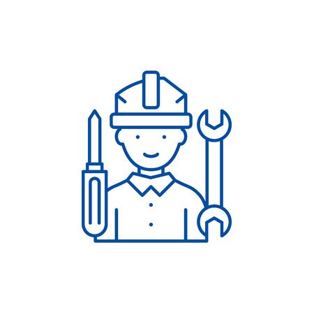Master line concept icon. Master flat vector website sign, outline symbol, illustration. Vecteurs