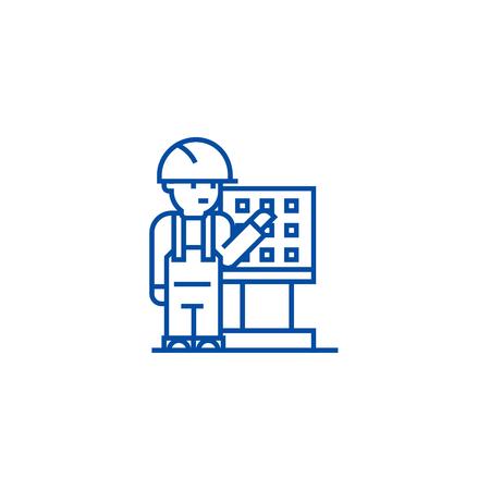 Master,foreman,engineer with machine  line concept icon. Master,foreman,engineer with machine  flat  vector website sign, outline symbol, illustration.