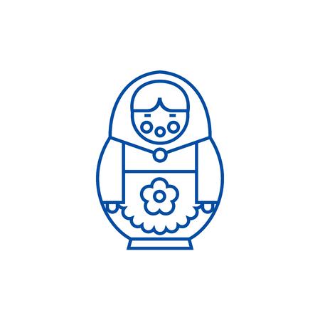 Matryoshka line concept icon. Matryoshka flat  vector website sign, outline symbol, illustration. Standard-Bild - 120056360