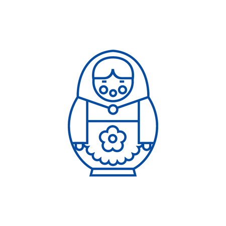 Matryoshka line concept icon. Matryoshka flat  vector website sign, outline symbol, illustration. Illustration