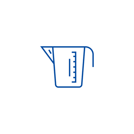 Measuring cup line concept icon. Measuring cup flat  vector website sign, outline symbol, illustration.  イラスト・ベクター素材