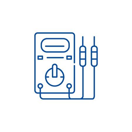Measuring instruments line concept icon. Measuring instruments flat  vector website sign, outline symbol, illustration. Illusztráció