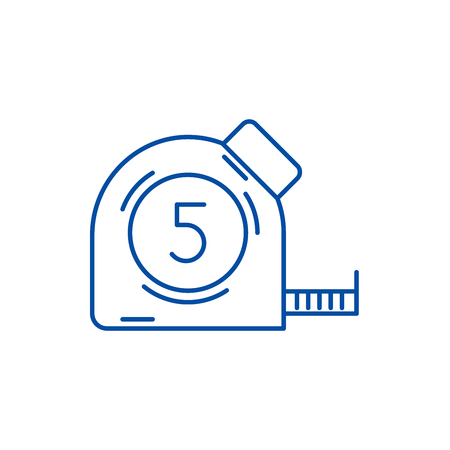 Measuring tape line concept icon. Measuring tape flat  vector website sign, outline symbol, illustration.