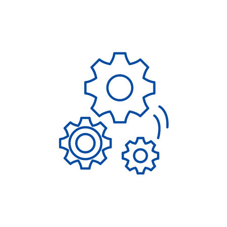 Mechanical engineering line concept icon. Mechanical engineering flat  vector website sign, outline symbol, illustration. 일러스트
