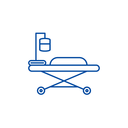 Medical bed line concept icon. Medical bed flat  vector website sign, outline symbol, illustration.