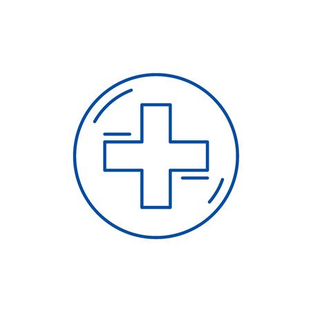 Medical cross line concept icon. Medical cross flat  vector website sign, outline symbol, illustration. Standard-Bild - 120277556