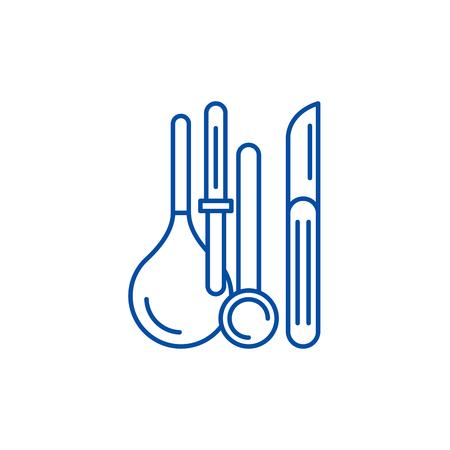 Medical instruments line concept icon. Medical instruments flat  vector website sign, outline symbol, illustration.
