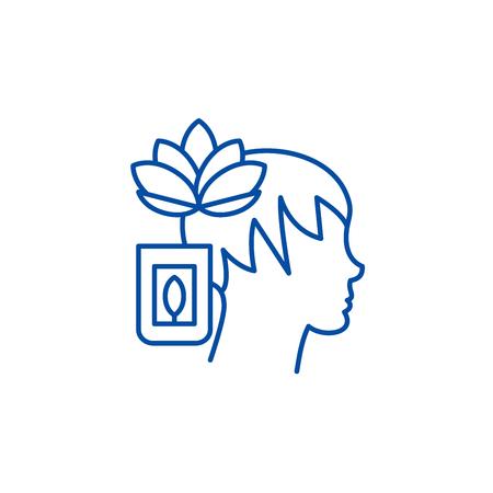 Icône de concept de ligne de méditation. Télévision vecteur de méditation signe site Web, symbole du contour, illustration.