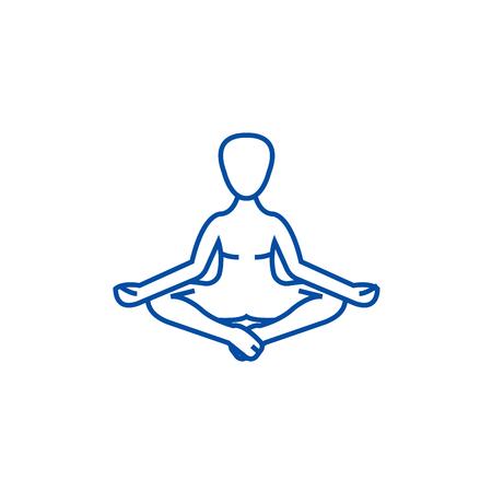 Meditation, yoga posture,lotus line concept icon. Meditation, yoga posture,lotus flat  vector website sign, outline symbol, illustration.