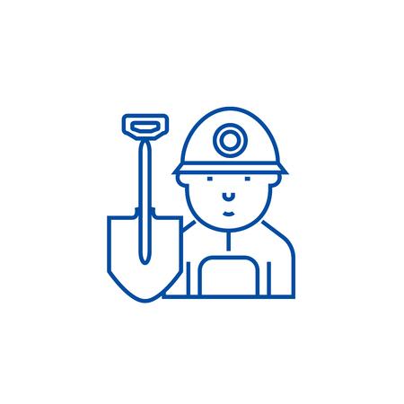 Miner,worker line concept icon. Miner,worker flat  vector website sign, outline symbol, illustration. Illustration