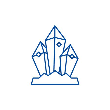 Mineral treasure line concept icon. Mineral treasure flat  vector website sign, outline symbol, illustration. Banco de Imagens - 119983540