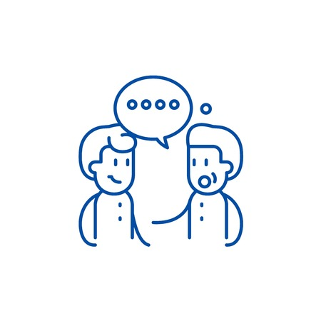 Meeting friends line concept icon. Meeting friends flat  vector website sign, outline symbol, illustration.
