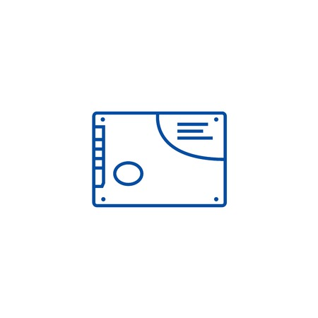 Memory card, ssd line concept icon. Memory card, ssd flat  vector website sign, outline symbol, illustration.