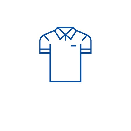 Men polo line concept icon. Men polo flat  vector website sign, outline symbol, illustration. Illustration