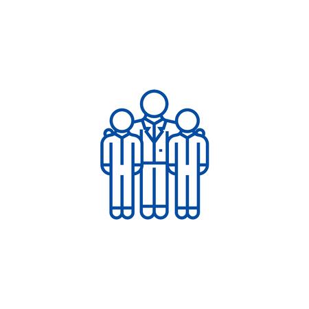 Mentor,mentorship,coaching line concept icon. Mentor,mentorship,coaching flat vector website sign, outline symbol, illustration.