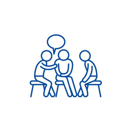 Icona del concetto di linea di tutoraggio. Tutoraggio sito web piatto vettore segno, simbolo di contorno, illustrazione. Vettoriali