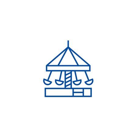 Merry go round,carousel,kindergarten line concept icon.