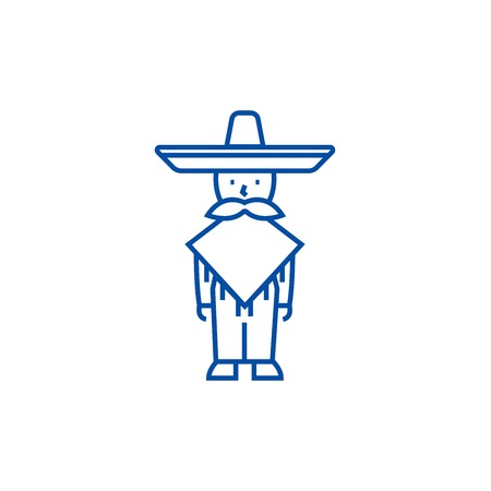 Mexican man,mariachi line concept icon. Mexican man,mariachi flat  vector website sign, outline symbol, illustration. Vectores