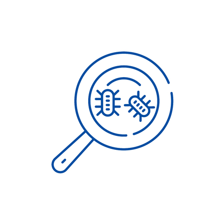 Microbial analysis line concept icon. Microbial analysis flat  vector website sign, outline symbol, illustration.