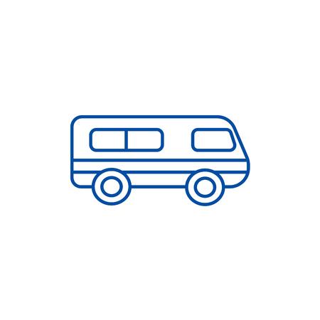 Microbus,minibus line concept icon. Microbus,minibus flat  vector website sign, outline symbol, illustration.