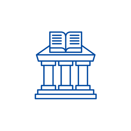 Ministry of education line concept icon. Ministry of education flat  vector website sign, outline symbol, illustration.