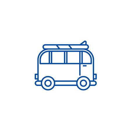 Minivan for travel line concept icon. Minivan for travel flat  vector website sign, outline symbol, illustration. Illustration