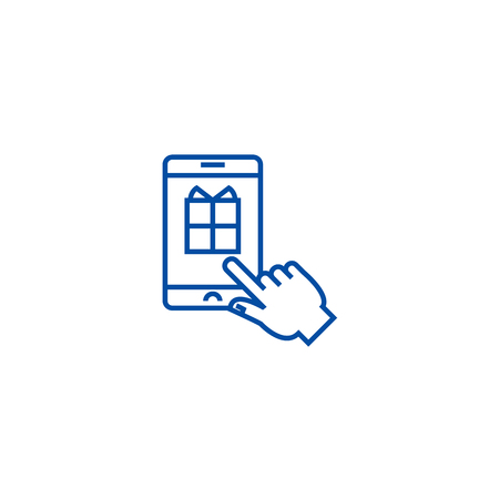 Mobile shopping line concept icon. Mobile shopping flat  vector website sign, outline symbol, illustration.