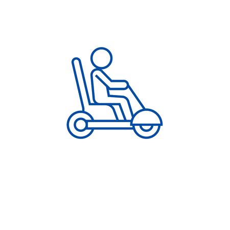 Icône de concept de ligne de scooter de mobilité. Scooter de mobilité vector signe site Web, symbole du contour, illustration. Vecteurs