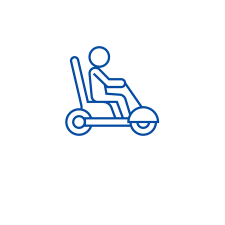 Mobility scooter line concept icon. Mobility scooter flat  vector website sign, outline symbol, illustration.
