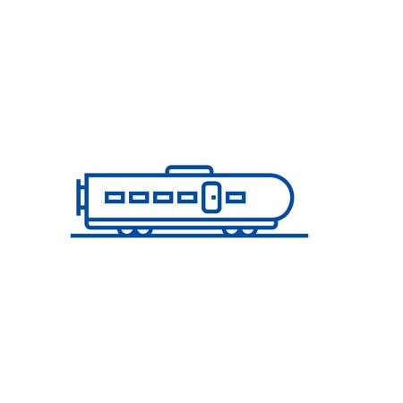 Modern train line concept icon. Modern train flat  vector website sign, outline symbol, illustration. 写真素材 - 119984042