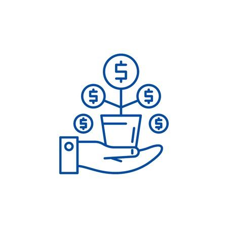 Money tree line concept icon. Money tree flat  vector website sign, outline symbol, illustration. Stock Vector - 120053950