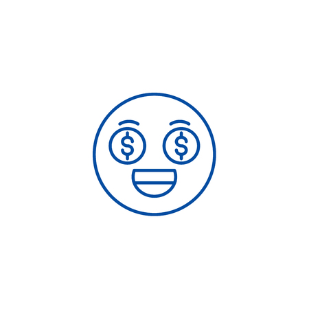 Money emoji line concept icon. Money emoji flat  vector website sign, outline symbol, illustration. Иллюстрация