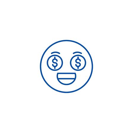 Money emoji line concept icon. Money emoji flat  vector website sign, outline symbol, illustration. Illustration