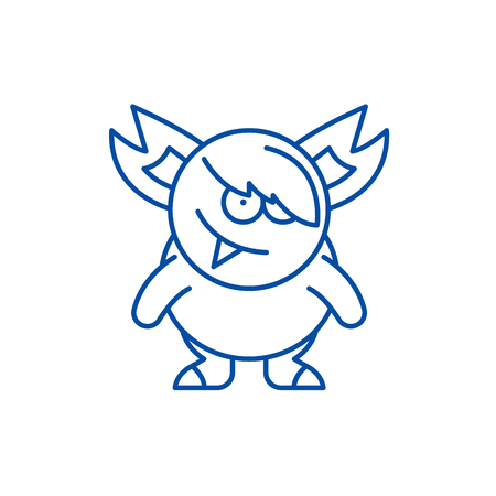 Monster line concept icon. Monster flat  vector website sign, outline symbol, illustration. Illustration