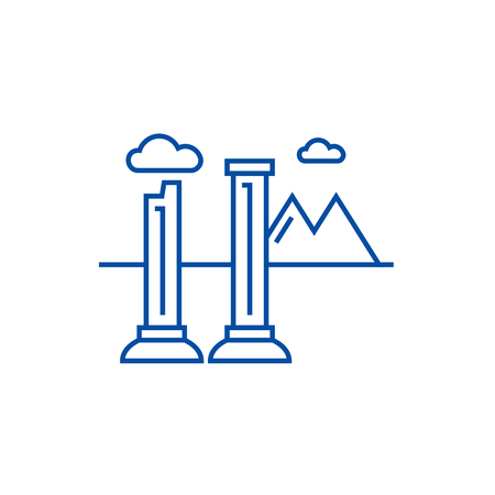 Monuments of ruins line concept icon. Monuments of ruins flat  vector website sign, outline symbol, illustration.