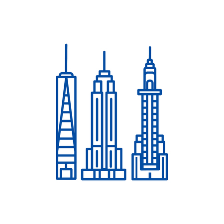New york skyline line concept icon. New york skyline flat  vector website sign, outline symbol, illustration.