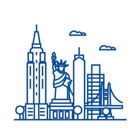 Ikona koncepcja linii USA w Nowym Jorku. Nowy Jork usa płaski wektor stronie internetowej znak, symbol konspektu, ilustracja. Ilustracje wektorowe