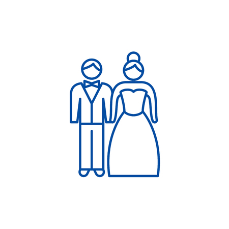 Newlyweds line concept icon. Newlyweds flat  vector website sign, outline symbol, illustration.