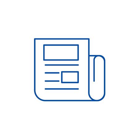 News report line concept icon. News report flat  vector website sign, outline symbol, illustration. Illustration