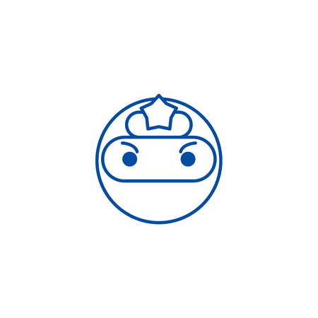 Ninja emoji line concept icon. Ninja emoji flat  vector website sign, outline symbol, illustration.