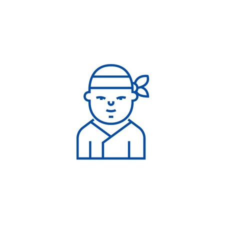 Ninja,japanese line concept icon. Ninja,japanese flat  vector website sign, outline symbol, illustration. Stock Vector - 119984379