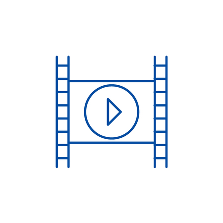 Movie line concept icon. Movie flat  vector website sign, outline symbol, illustration.